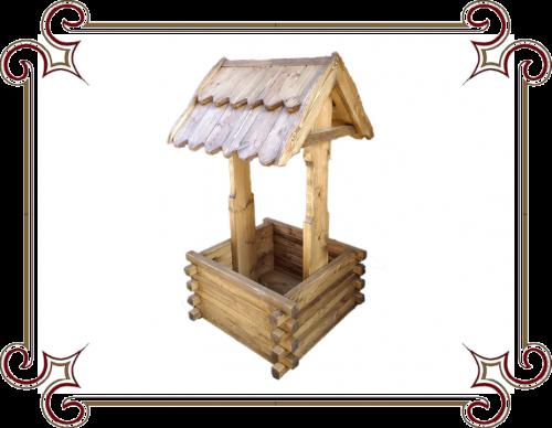 Цветочница в виде деревянного Колодца