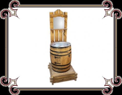 Бочка-умывальник, Умывальник для дачи в виде деревянной бочки, Мойка для деревянной бочки, Мойка из бочки