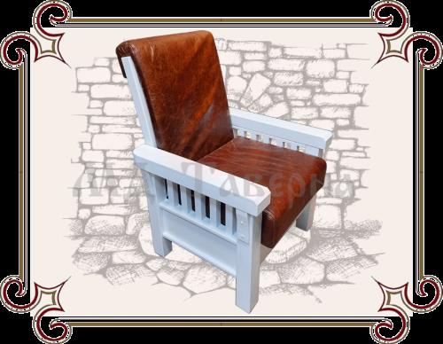 Кресло деревянное с кожей