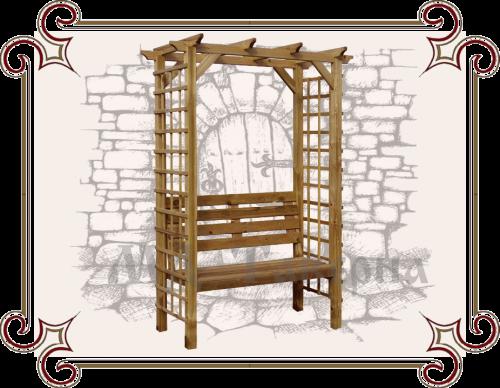 Декоративная пергола со скамейкой