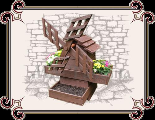 Деревянная мельница цветочница