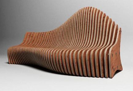 дизайнерская мебель, скамейка из реек