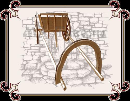 Деревянная телега для декора сада