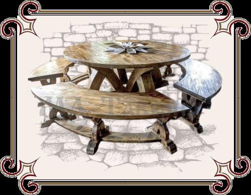 Круглый стол с лавкой